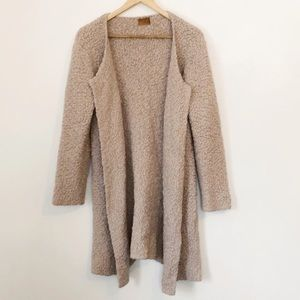 POL Popcorn knit fuzzy open front cardigan